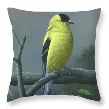 Throw Pillow featuring the painting American Goldfinch by Mike Brown