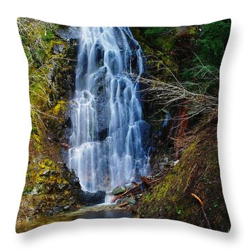 An Angel In The Falls Throw Pillow by Jeff Swan