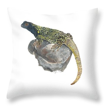 Argentine Lizard Throw Pillow by Cindy Hitchcock