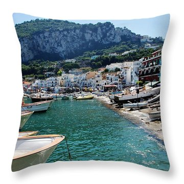 Arrival To Capri  Throw Pillow