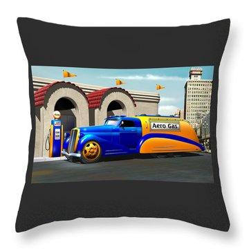 Art Deco Gas Truck Throw Pillow