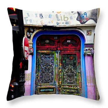 Artistic Door In Paris France Throw Pillow