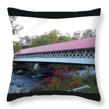 Ashuelot Covered Bridge Throw Pillow by Catherine Gagne