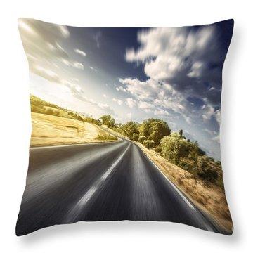 Asphalt Road In Field Against Moody Throw Pillow by Evgeny Kuklev