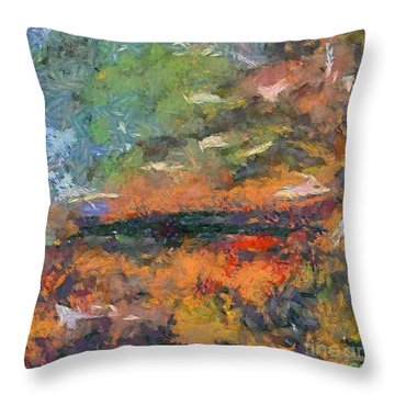 Throw Pillow featuring the painting At Dawn by Dragica  Micki Fortuna