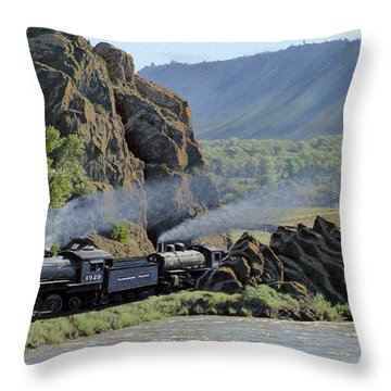 At Point Of Rocks-bound For Yellowstone Throw Pillow by Paul Krapf