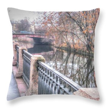 Throw Pillow featuring the pyrography Autumn Peterburg by Yury Bashkin