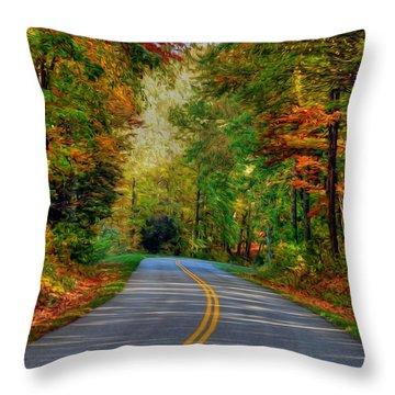 Throw Pillow featuring the digital art Autumn Drive by Kelvin Booker