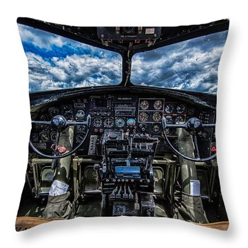 B-17 Cockpit Throw Pillow