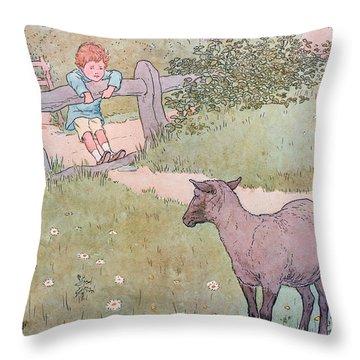 Baa Baa Black Sheep Throw Pillow by Leonard Leslie Brooke