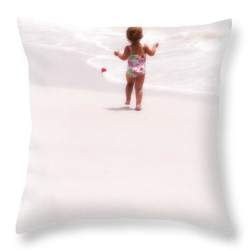 Baby Chases Red Ball Throw Pillow by Valerie Reeves