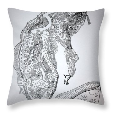 Throw Pillow featuring the drawing Bakiga Dance - Uganda by Gloria Ssali