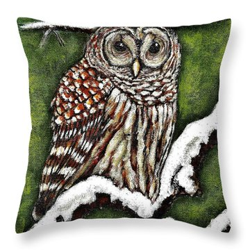Throw Pillow featuring the painting Barred Owl by VLee Watson
