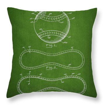 Baseball Patent Drawing From 1927 Throw Pillow