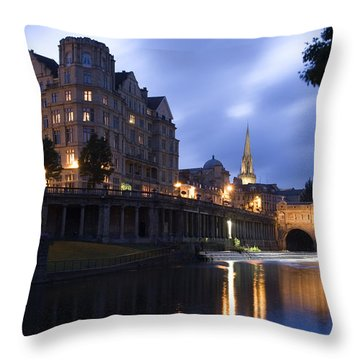 Bath City Spa Viewed Over The River Avon At Night Throw Pillow by Mal Bray