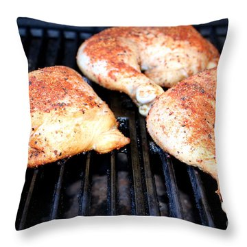 Bbq Chicken Throw Pillow by Henrik Lehnerer