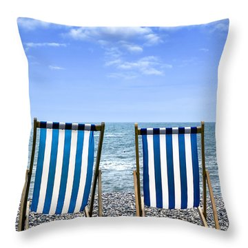 Beach Chairs Throw Pillow by Joana Kruse