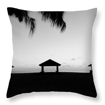 Throw Pillow featuring the photograph Beach Huts by Amar Sheow