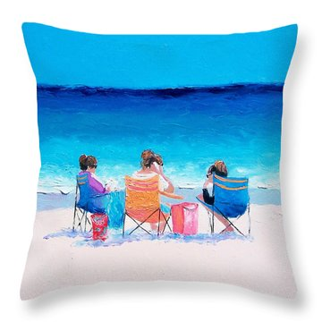 Beach Painting 'girl Friends' By Jan Matson Throw Pillow