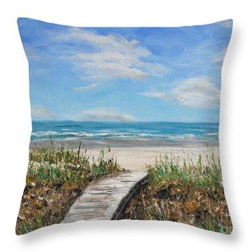 Beach Walkway Throw Pillow