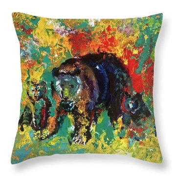 Bear Family Throw Pillow by Peter Bonk