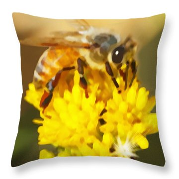 Bee On A Yellow Flower Throw Pillow
