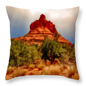 Bell Rock Vortex Painting Throw Pillow by Bob and Nadine Johnston