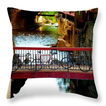 Bikes Over Waller Creek In Austin Throw Pillow