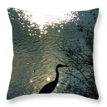 Throw Pillow featuring the photograph Bird In Pond by Rose Wang