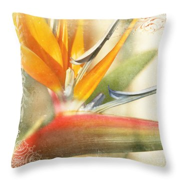 Bird Of Paradise - Strelitzea Reginae - Tropical Flowers Of Hawaii Throw Pillow