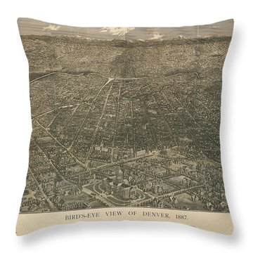 Birdseye Map Of Denver Colorado - 1887 Throw Pillow by Eric Glaser