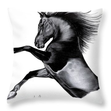 Black Arabian Mare Throw Pillow by Cheryl Poland