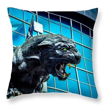 Black Panther Statue Throw Pillow by Alex Grichenko
