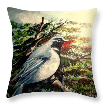 Black-throated Robin  Throw Pillow