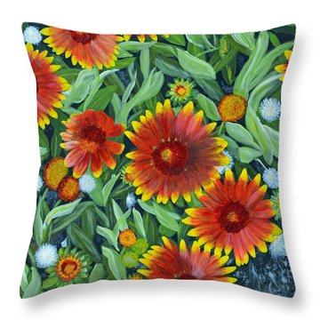 Blanket Flowers Throw Pillow