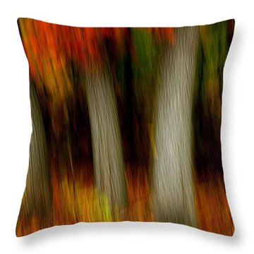 Blazing In The Woods Throw Pillow by Randy Pollard