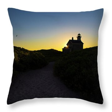 North Lighthouse On Block Island, Rhode Island Throw Pillow