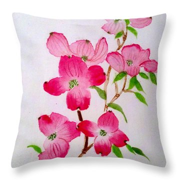 Blooming Dogwood Throw Pillow