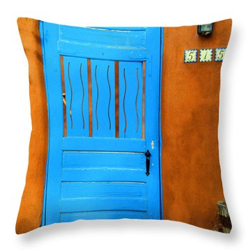 Blue Door In Santa Fe Throw Pillow
