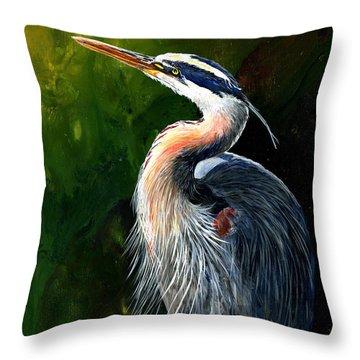 Blue Heron  Throw Pillow by Sherry Shipley