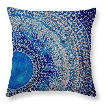 Blue Kachina Original Painting Throw Pillow by Sol Luckman