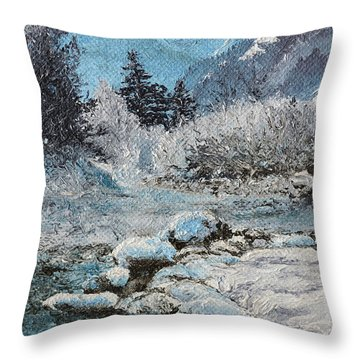 Throw Pillow featuring the painting Blue Winter by Mary Ellen Anderson