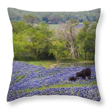 Bluebonnets On The Farm Throw Pillow