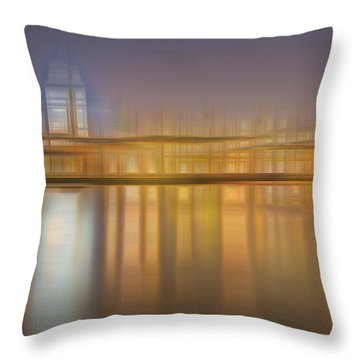 Blurred Abstract City Skyline Colorful Background Throw Pillow by Matthew Gibson