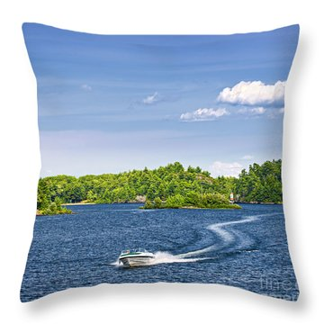 Boating On Lake Throw Pillow
