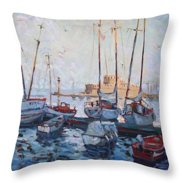 Boats In Rhodes Greece  Throw Pillow by Ylli Haruni