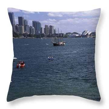 Boats In The Sea With A Bridge Throw Pillow