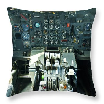 B727 Cockpit Throw Pillow by Micah May