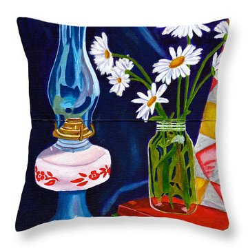 Throw Pillow featuring the painting 2 Books And A Lamp by Laura Forde