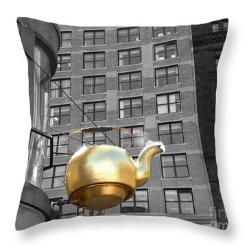 Throw Pillow featuring the photograph Boston Golden Teapot by Cheryl Del Toro